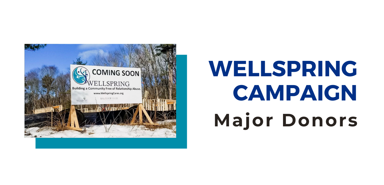 """""""Wellspring campaign major donors"""" with an image of a sign that says """"Coming Soon Wellspring"""""""