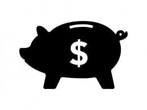 Piggy bank in black with dollar sign