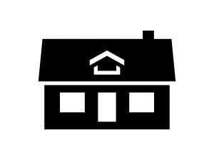 Black one story house icon